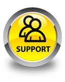 Support (group icon) glossy yellow round button Stock Image
