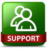 Support (group icon) green square button red ribbon in middle. Support (group icon) isolated on green square button with red ribbon in middle abstract Stock Photography