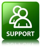 Support (group icon) green square button Royalty Free Stock Image