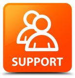 Support (group icon) orange square button Stock Images