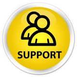 Support (group icon) premium yellow round button. Support (group icon) isolated on premium yellow round button abstract illustration Stock Photo