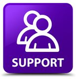 Support (group icon) purple square button Royalty Free Stock Photo