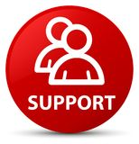 Support (group icon) red round button. Support (group icon) isolated on red round button abstract illustration Stock Photo