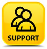 Support (group icon) special yellow square button. Support (group icon) isolated on special yellow square button abstract illustration Stock Photo