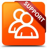 Support (group icon) orange square button red ribbon in corner. Support (group icon) isolated on orange square button with red ribbon in corner abstract Stock Photos