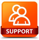 Support (group icon) orange square button red ribbon in middle Royalty Free Stock Images
