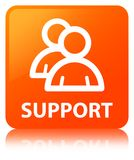 Support (group icon) orange square button. Support (group icon) isolated on orange square button reflected abstract illustration Royalty Free Stock Image
