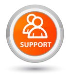 Support (group icon) prime orange round button. Support (group icon) isolated on prime orange round button abstract illustration Stock Images