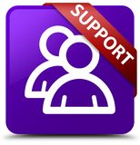 Support (group icon) purple square button red ribbon in corner. Support (group icon) isolated on purple square button with red ribbon in corner abstract Stock Image