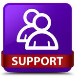 Support (group icon) purple square button red ribbon in middle Royalty Free Stock Images