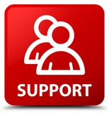 Support (group icon) red square button. Support (group icon) isolated on red square button abstract illustration Royalty Free Stock Image