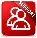 Support (group icon) red square button red ribbon in corner. Support (group icon) isolated on red square button with red ribbon in corner abstract illustration Stock Images