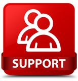 Support (group icon) red square button red ribbon in middle Stock Images