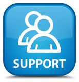 Support (group icon) special cyan blue square button Royalty Free Stock Images