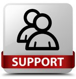 Support (group icon) white square button red ribbon in middle. Support (group icon) isolated on white square button with red ribbon in middle abstract Royalty Free Stock Photos