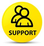 Support (group icon) yellow round button Royalty Free Stock Photos
