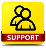Support (group icon) yellow square button red ribbon in middle Stock Photography