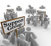 Support Group People Meeting Around Signs Help Therapy Communica. Support Group signs with people or patients gathered around them to share personal experience Stock Image