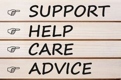 Support Help Care and Advice Concept stock photo