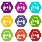 Support 24 hours icon set color hexahedron. Support 24 hours icon set many color hexahedron isolated on white vector illustration Royalty Free Stock Image