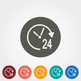 Support 24 hours. Icon for web and mobile application. Vector illustration on a button. Flat design style Stock Images