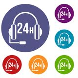 Support 24 hours icons set. In flat circle reb, blue and green color for web Royalty Free Stock Image