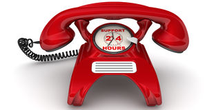 Support 24 hours. The inscription on the red phone. Red telephone with clock instead of disk dialer and inscription 'SUPPORT 24 HOURS'. . 3D Illustration Royalty Free Stock Image
