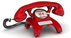 Support 24 hours. The inscription on the red phone. Red telephone with clock instead of disk dialer and inscription 'SUPPORT 24 HOURS'. . 3D Illustration Stock Photo