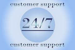 Support 24 hours per 7 days. Service 24 hours per 7 days - promotion sign for any service Royalty Free Stock Photography
