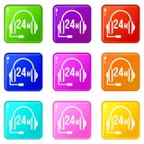 Support 24 hours set 9. Support 24 hours icons of 9 color set isolated vector illustration Royalty Free Stock Image