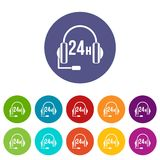 Support 24 hours set icons Stock Photography