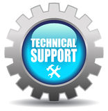Support icon. Technical support glossy blue icon Royalty Free Stock Images