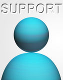 Support icon. Blue person on white background with text stock illustration