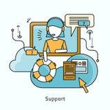 Support Icon Flat Design Concept Stock Photos