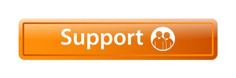 Support icon web button. Of vector illustration on isolated white background Stock Image