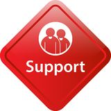 Support icon web button. Of vector illustration on isolated white background Stock Photos
