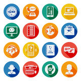 Support icons flat set Royalty Free Stock Images