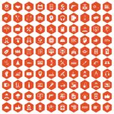 100 support icons hexagon orange. 100 support center icons set in orange hexagon isolated vector illustration stock illustration