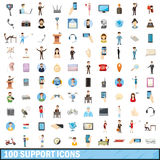 100 support icons set, cartoon style Stock Image