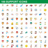 100 support icons set, cartoon style. 100 support icons set in cartoon style for any design vector illustration royalty free illustration