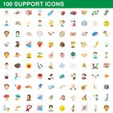 100 support icons set, cartoon style. 100 support icons set in cartoon style for any design illustration vector illustration