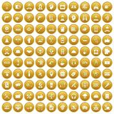 100 support icons set gold. 100 support center icons set in gold circle isolated on white vector illustration Royalty Free Illustration