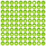 100 support icons set green. 100 support center icons set in green circle isolated on white vectr illustration Stock Illustration