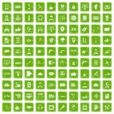 100 support icons set grunge green. 100 support center icons set in grunge style green color isolated on white background vector illustration Royalty Free Stock Photography