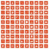 100 support icons set grunge orange. 100 support center icons set in grunge style orange color isolated on white background vector illustration Stock Illustration
