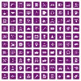 100 support icons set grunge purple. 100 support center icons set in grunge style purple color isolated on white background vector illustration Stock Illustration