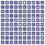 100 support icons set grunge sapphire. 100 support center icons set in grunge style sapphire color isolated on white background vector illustration Stock Illustration