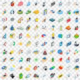 100 support icons set, isometric 3d style Stock Image