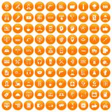 100 support icons set orange. 100 support center icons set in orange circle isolated on white vector illustration Royalty Free Illustration