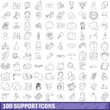 100 support icons set, outline style Royalty Free Stock Photo